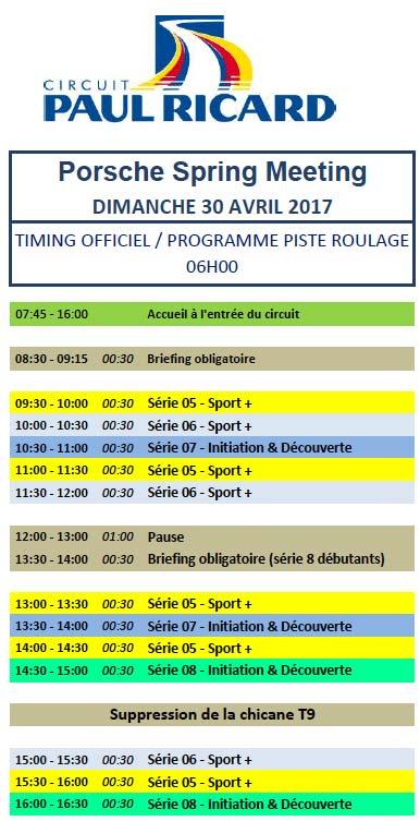déroulement des séances dimanche 30 avril roulage circuit Paul Ricard Le Castellet Porsche-Spring-Meeting