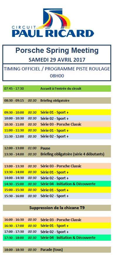 déroulement des séances samedi 29 roulage circuit Paul Ricard Le Castellet Porsche-Spring-Meeting