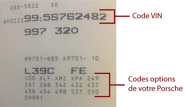 code options Porsche visuel