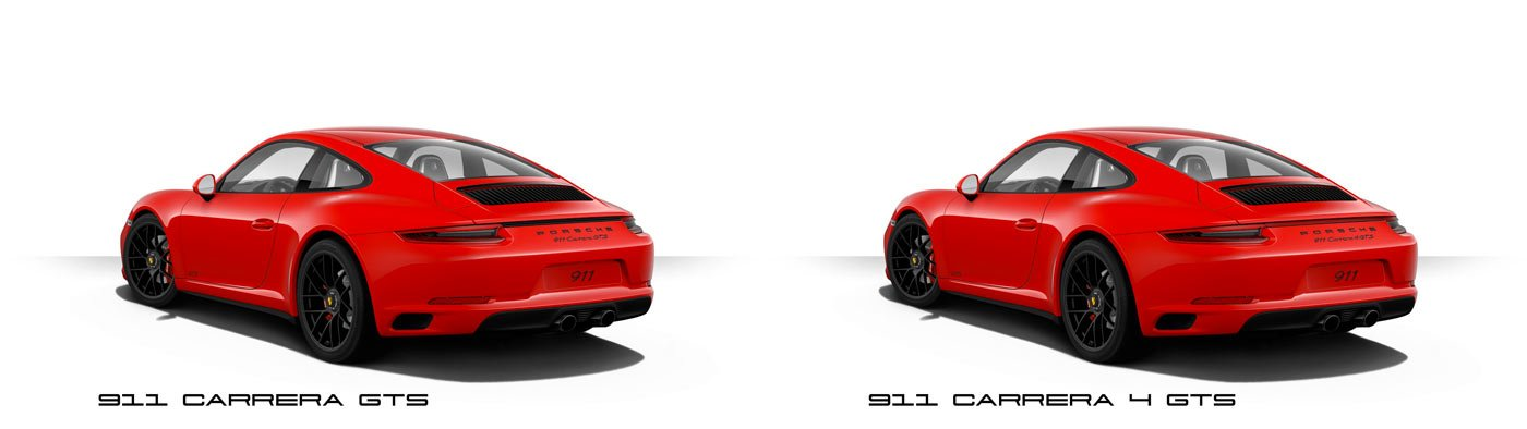 Comparaison 911 991 Phase 2 mk2 carrera GTS vs 4 GTS 2017 face arrière