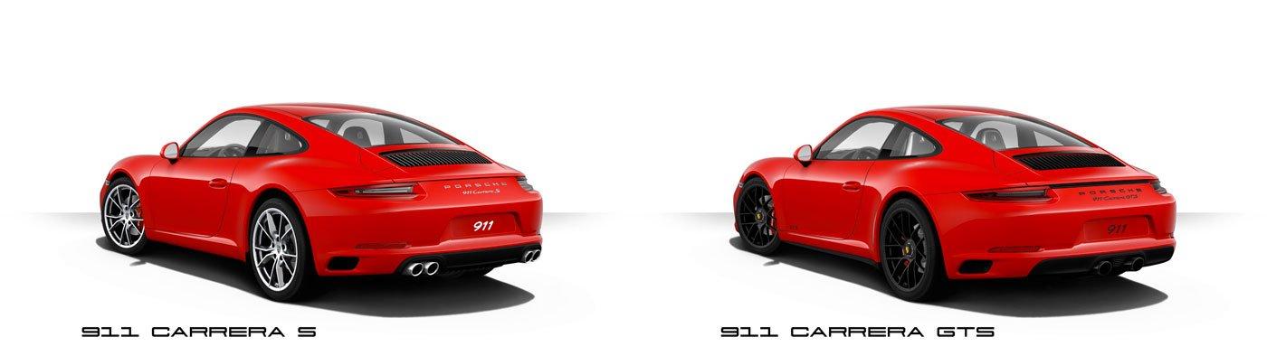 comparaison 911 991 phase 2 mk2 carrera s GTS 2017 face arrière