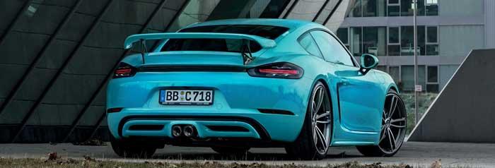 Aileron Techart Porsche 718 Cayman bleu arrière