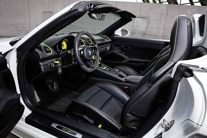 interieur noir et jaune fluo Techart 718 Boxster Cayman