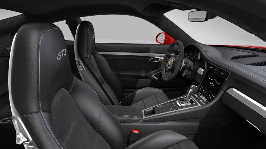 interieur cuir et alcantara en option porsche 911 gt3 2017