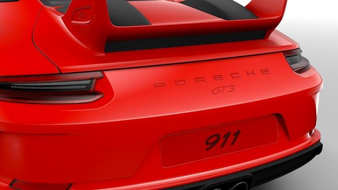 porsche 911 gt3 991 mk2 logo et monogramme peint noir couleur arriere 01