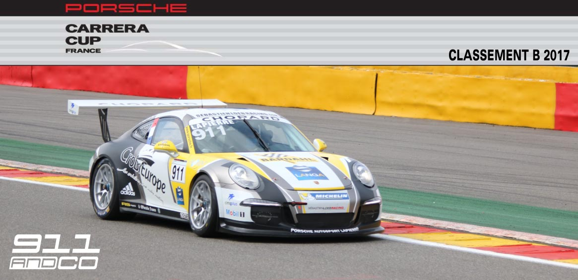 bandeau classement Porsche Carrera Cup B france 2017 categorie a