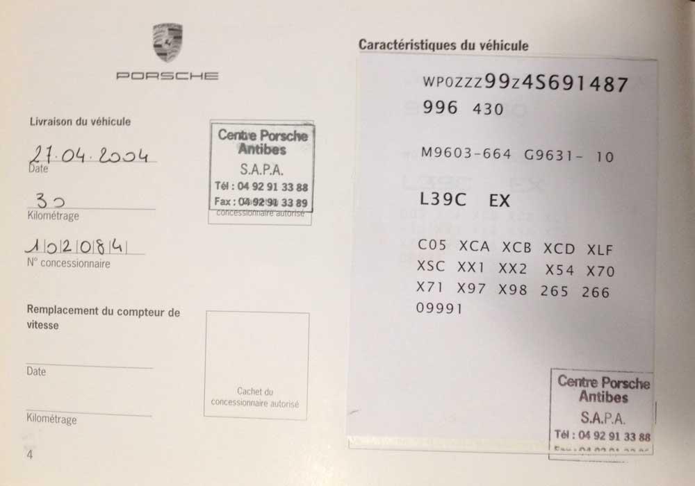 Porsche 911 996 CE codes options