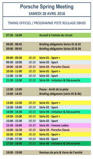programme porsche spring meeting 28/04/2018