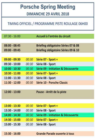 programme porsche spring meeting 29/04/2018