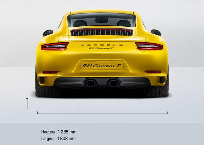 Dimensions Porsche 911 Carrera T 370ch 991 phase 2 2018-2019 arrière
