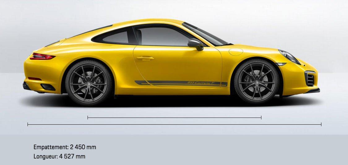 Dimensions Porsche 911 Carrera T 370ch 991 phase 2 2018-2019 profil