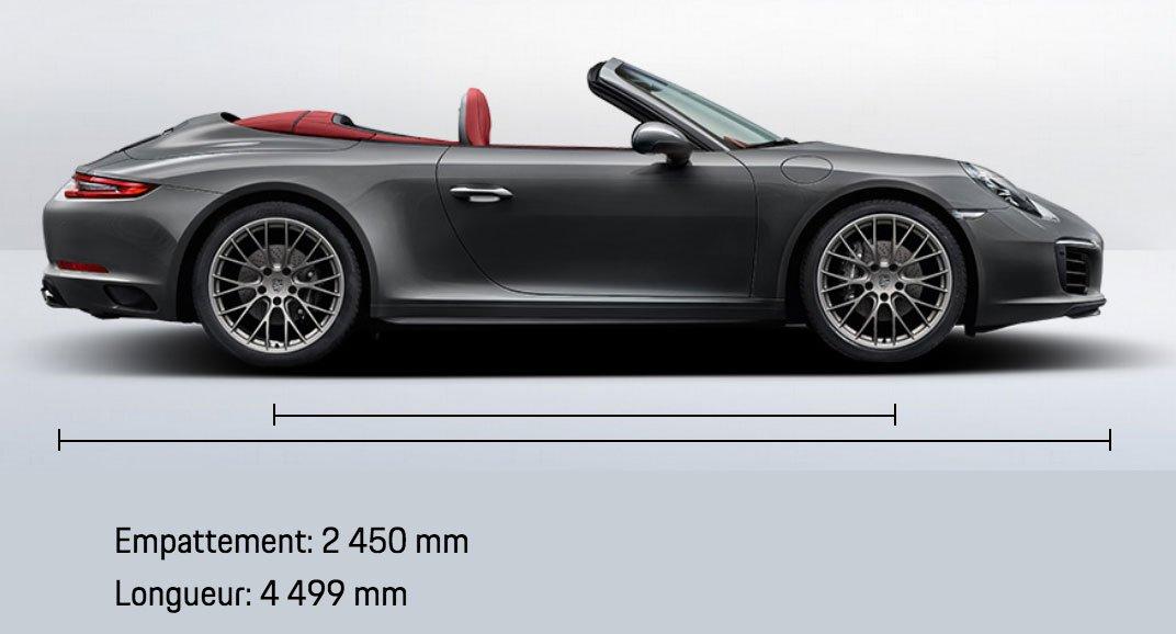 dimension porsche 911 991 Carrera 4 Cabriolet mk2 2015-2019 profil