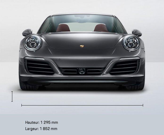 dimension porsche 911 991 Carrera 4 Coupé mk2 2015-2019 face avant