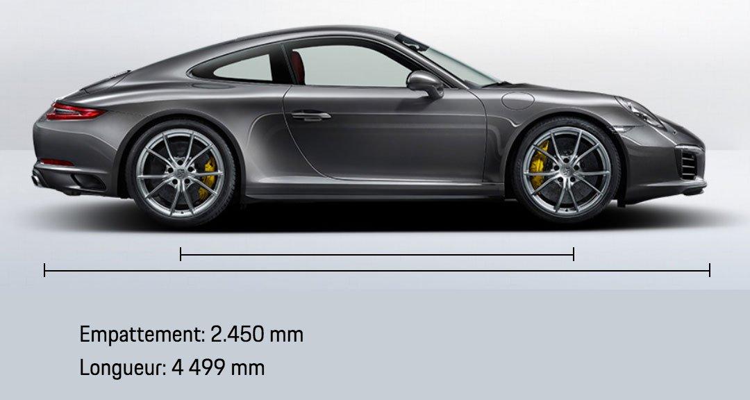 dimension porsche 911 991 Carrera 4 Coupé mk2 2015-2019 profil