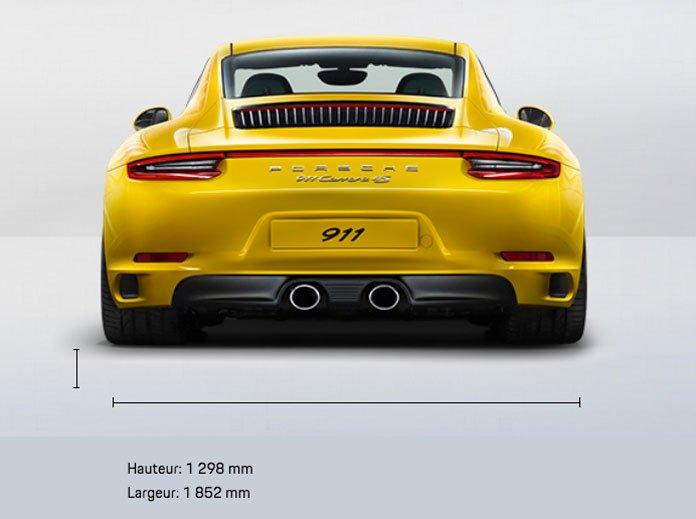 dimension porsche 911 991 Carrera 4S mk2 2015-2019 face arrière