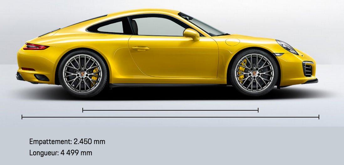 dimension porsche 911 991 Carrera 4S mk2 2015-2019 profil
