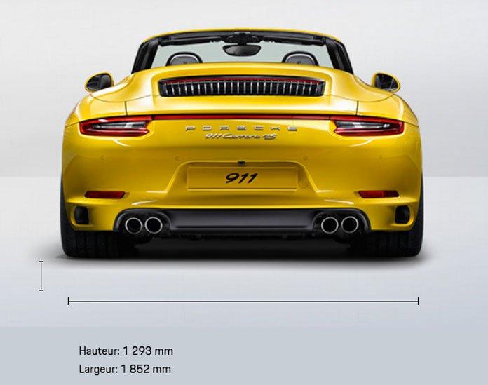 dimension porsche 911 991 Carrera 4S Cabriolet mk2 2015-2019 face arriere
