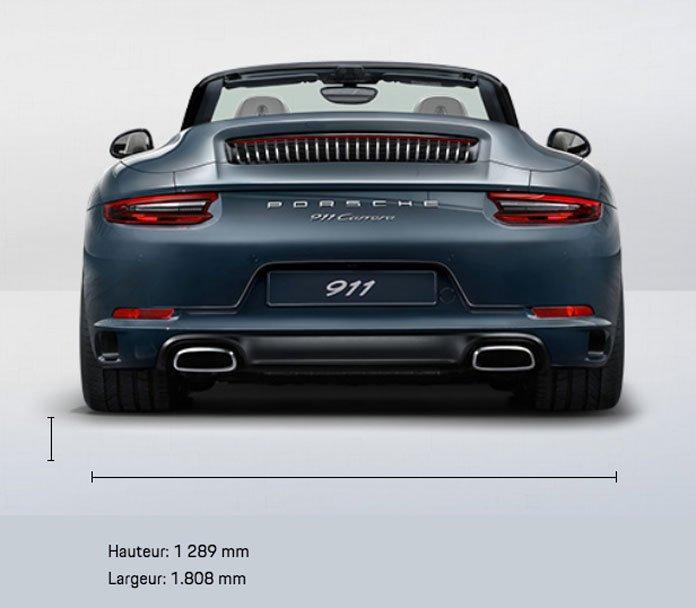 dimension porsche 911 991 Carrera Cabriolet mk2 2015-2019 face avant