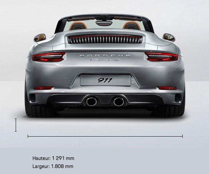 dimension Porsche 911 991 Carrera S Cabriolet 420ch 991 mk2 2015-2019 arrière