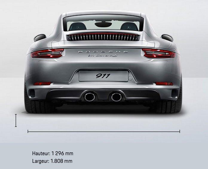 dimension Porsche 911 991 Carrera S Coupé 420ch 991 mk2 2015-2019 arrière