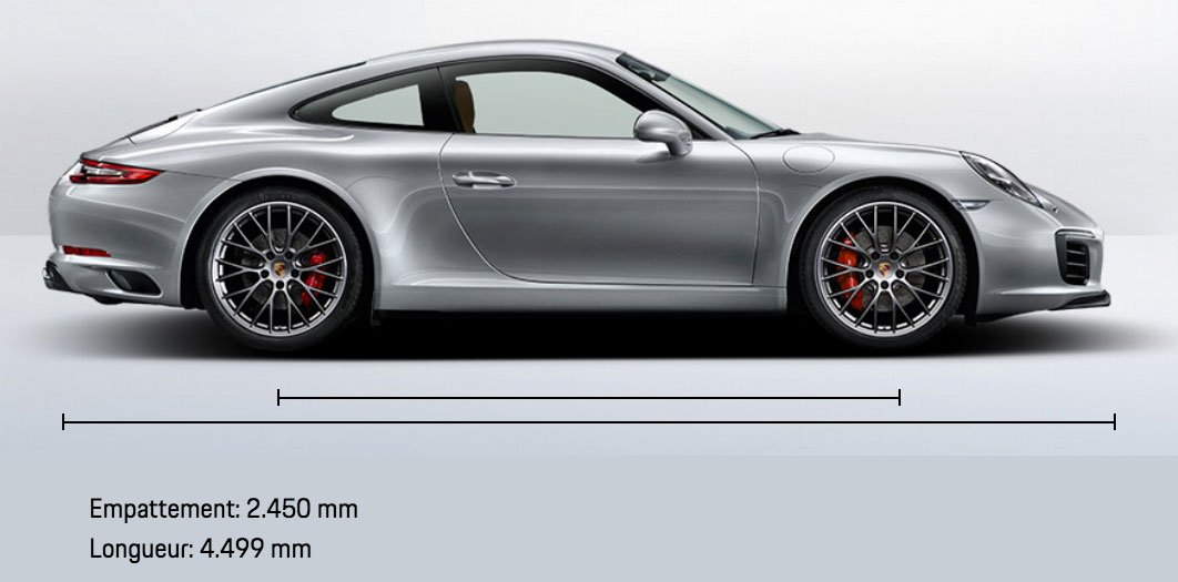 dimension Porsche 911 991 Carrera S Coupé 420ch 991 mk2 2015-2019 profil