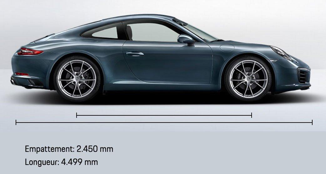 dimension porsche 911 991 Carrera mk2 2015-2019 profil