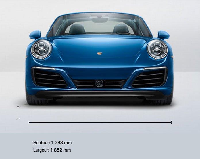 dimension porsche 911 991 Targa 4 mk2 2015 2019 face avant