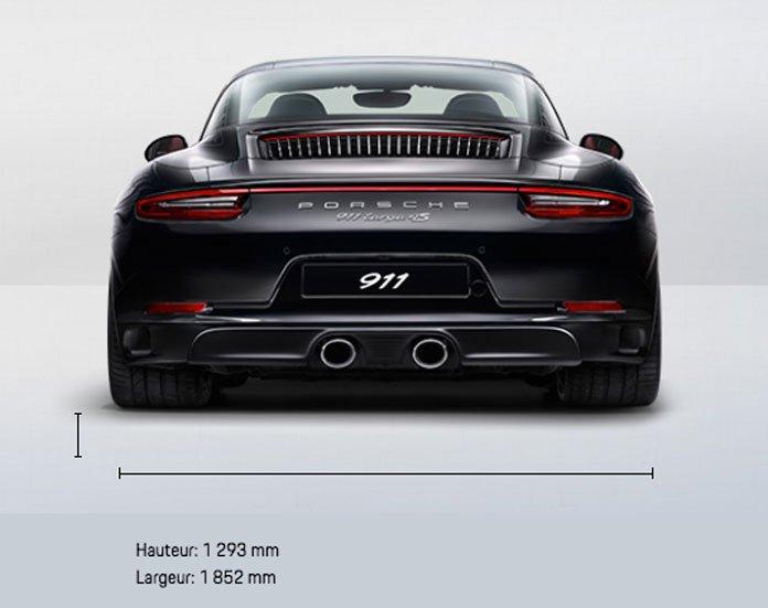 dimension porsche 911 991 Targa 4S mk2 2015-2019 face arrière