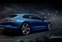 Porsche Taycan Sport Turismo bleu miami